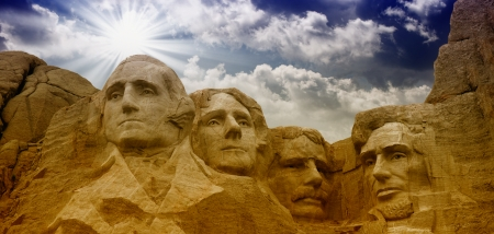 president's day: Colors of the sky above Mount Rushmore - South Dakota - USA