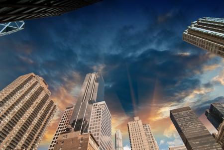 manhatan: New York City. Wonderful upward view of Manhattan Skycrapers.