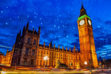 Lights of Big Ben Tower in London - UK photo