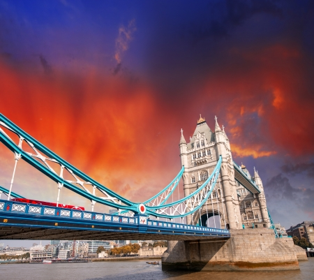 magnificence: Magnificence of Tower Bridge in London. Powerful architecture over River Thames. Stock Photo