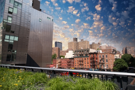 Beautiful view of Manhattan skyline as seen from High Line Park - New York. photo
