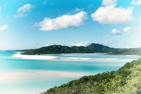 whitsunday: Whitehaven beach lagoon at national park queensland australia tropical coral sea world heritage. Stock Photo