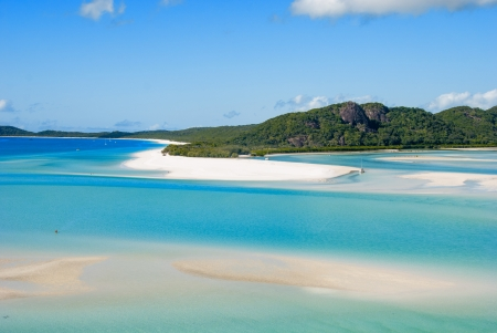 whitsunday: Wonderful sea and forest of Queensland. Whitehaven Beach - Australia.