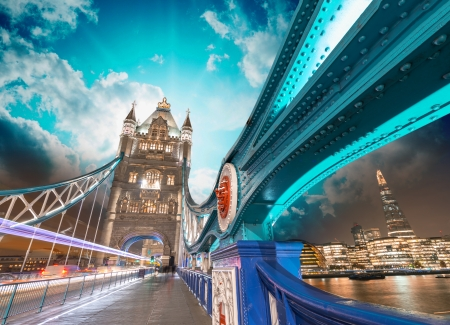 magnificence: London. Magnificence of Tower Bridge with its beautiful night colors.