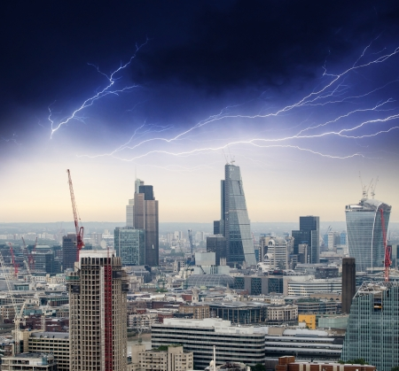 Storm in London. Bad weather over city skyline.