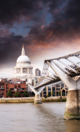 Bridge, River and London landmarks. photo