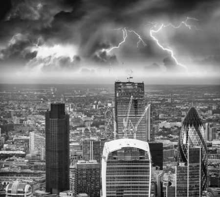 Storm over London skyline.
