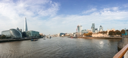 London, UK. Panoramic city view on river Thames.