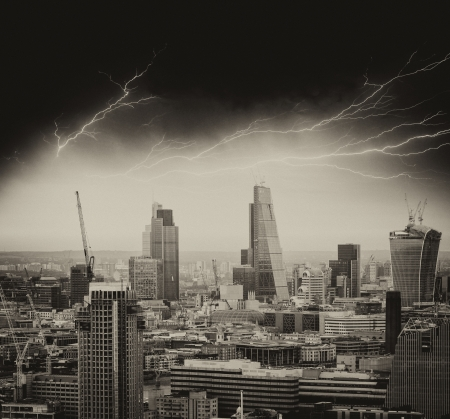 Storm in London. Bad weather over city skyline. photo
