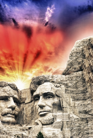 Mount Rushmore - Theodore Roosevelt and Abraham Lincoln sculpture.