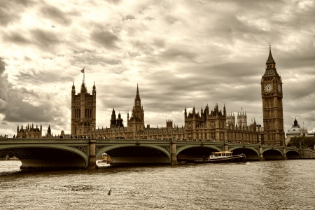 terrific: Terrific view of Westminster Bridge and Houses of Parliament, London.