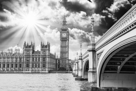 Landscape of Big Ben and Palace of Westminster with Bridge and Thames - London. photo