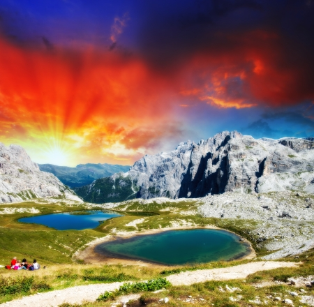 Beautiful sunset over Alpin Lakes, Italian Dolomites. photo