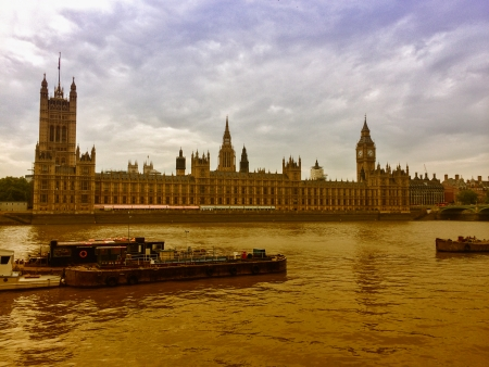 London, UK. Panoramic city view on river Thames. photo