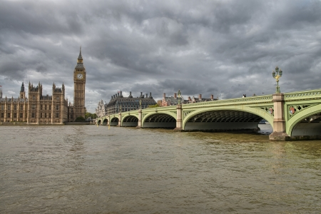 Terrific view of Westminster Bridge and Houses of Parliament, London. photo