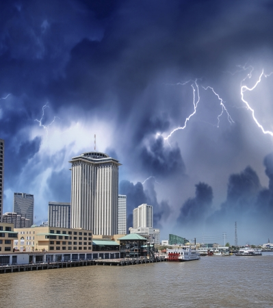 Thunderstorm over New Orleans, Louisiana. photo