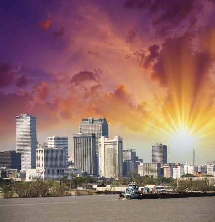 New Orleans, Louisiana. Mississippi river and city skyline. photo