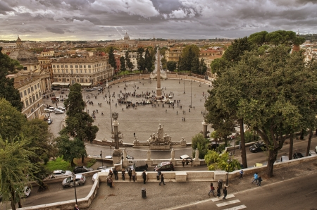 piazza dei miracoli: View of Piazza del Popolo from Pincio promenade - Rome. Stock Photo