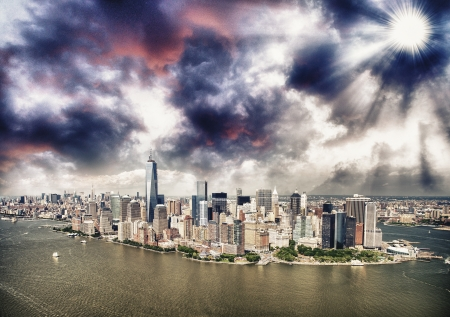 Helicopter view of New York City, Manhattan Island. photo