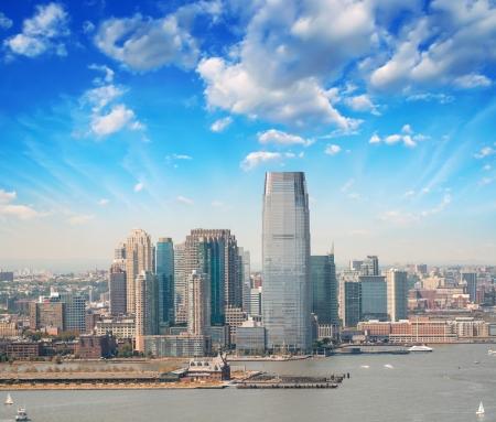 Jersey City skyline, New Jersey. Beautiful summer view.