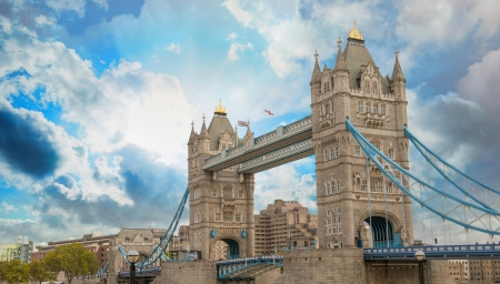 magnificence: Power and Magnificence of Tower Bridge Structure over river Thames - London - UK