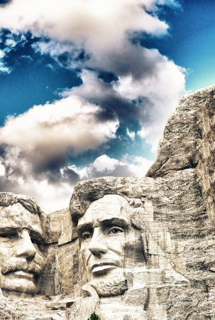 Mount Rushmore - Theodore Roosevelt and Abraham Lincoln sculpture. photo