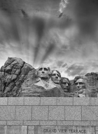Mount Rushmore - South Dakota. Mountain and Grand View Terrace Wall. photo