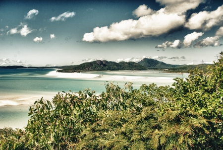 whitehaven: Wonderful sea and forest of Queensland. Whitehaven Beach - Australia.