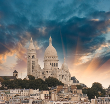 Sunset colors of Paris. Sacred Heart Cathedral aerial view.
