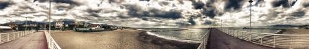 viareggio: Massa, Italy. Beautiful Jetty on Versilia beach in autumn season, panoramic view. Stock Photo