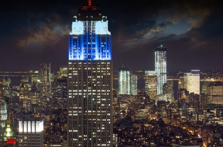 Downtown aerial view at night with skyscrapers and city skyline, U.S.A. Stock Photo - 24623350