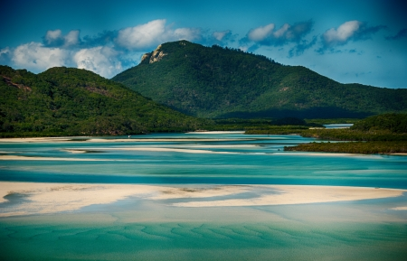 Whitehaven beach lagoon at national park queensland australia tropical coral sea  Imagens
