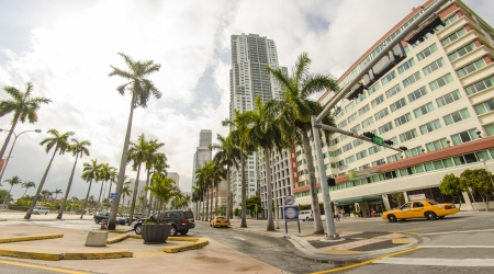 Upward street view of Miami Skyscrapers - USA photo