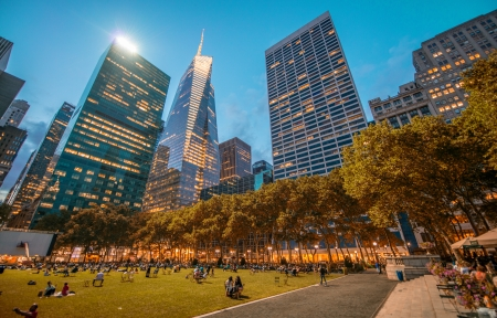 Bryant Park in Manhattan at night. Stock Photo
