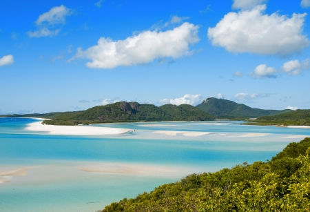 whitsunday: Whitehaven beach lagoon at national park queensland australia tropical coral sea.