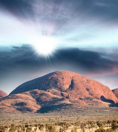 tjuta: Northern Territory, Australia. Shapes of outback mountains and arid desert. Stock Photo