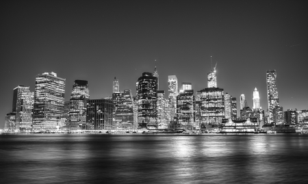 Black and white night view of Manhattan skyline. Stock Photo