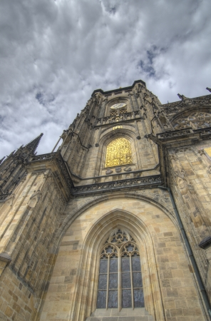 Typical ancient medieval architecture in Prague - summer season photo
