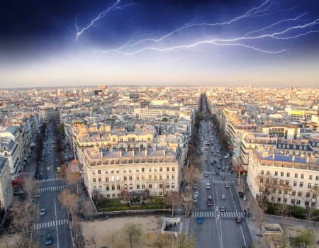 Storm above Paris, Panoramic view from Triumph Arc - France photo