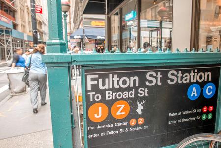 subway entrance: South Street Seaport Fulton Street Station Subway Entrance, New York - Manhattan.