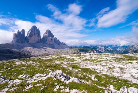 Tre Cime di Lavaredo, Three Mountain Peaks inside Italian Alps. photo