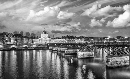 Beautiful sunset of Paris and Seine river - Black and White. photo