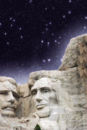 Mount Rushmore, South Dakota. Wonderful starry night above sculptures. photo