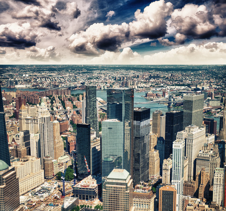 terrific: Manhattan, New York City. Terrific view of city skyscrapers. Stock Photo