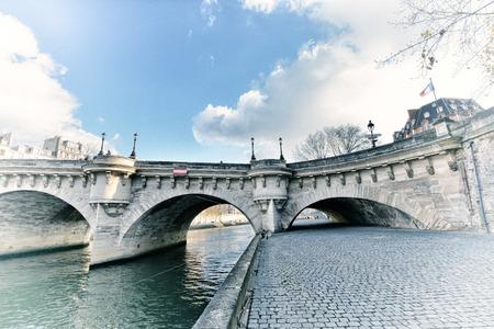 Paris cityscape with Seine river in winter.