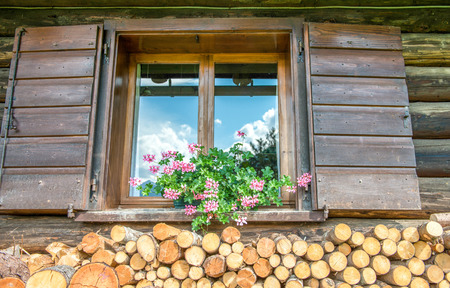 woodshed: Woodshed. Typical stack of timber just outside alpin wooden house. Stock Photo