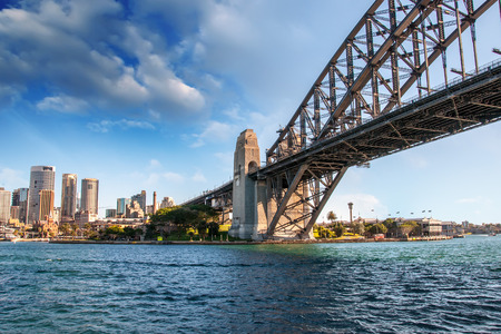 Stunning view of Sydney Harbour Bridge from the water.