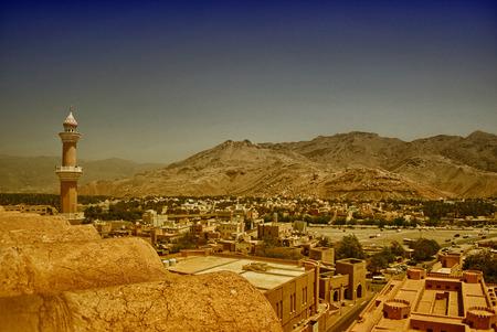 oman: Beautiful panorama of Nizwa, Oman. Stock Photo