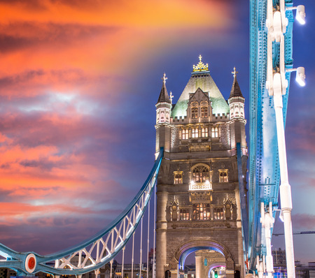 magnificent: Magnificent Tower of Tower Bridge. Night lights of London. Stock Photo
