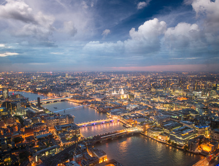 London night skyline aerial view with St Paul Cathedral. Stock Photo
